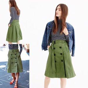 J. Crew army green chino trench skirt military 6